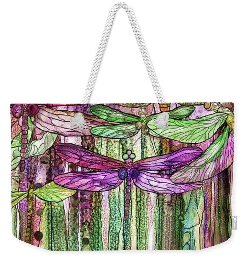 Carol Cavalaris Weekender Tote Bag featuring the mixed media Dragonfly Bloomies 2 - Pink by Carol Cavalaris