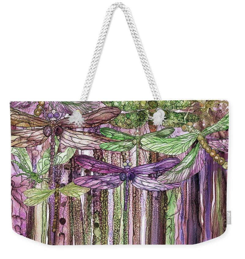 Carol Cavalaris Weekender Tote Bag featuring the mixed media Dragonfly Bloomies 3 - Pink by Carol Cavalaris