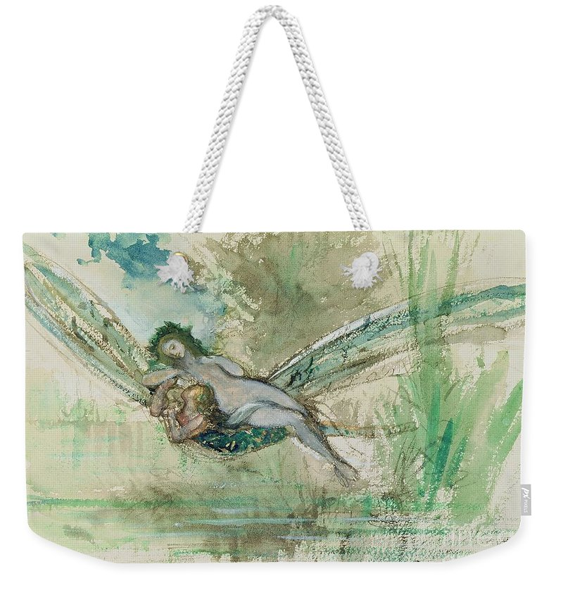 Dragonfly Weekender Tote Bag featuring the painting Dragonfly by Gustave Moreau