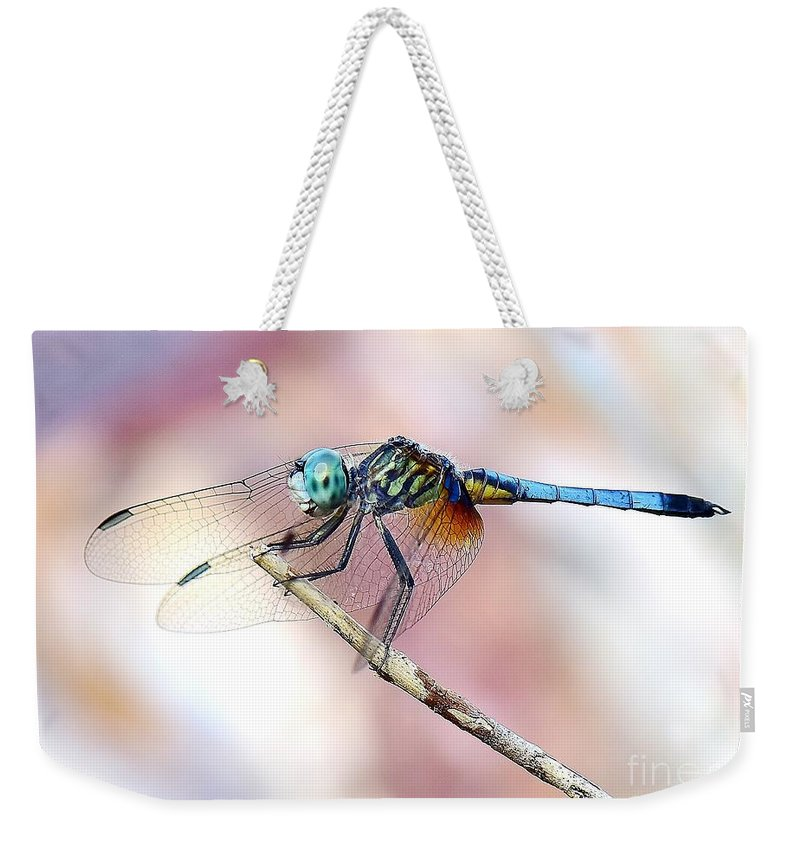 Dragonfly Wonder Weekender Tote Bag featuring the photograph Dragonfly In Balance by Lisa Renee Ludlum