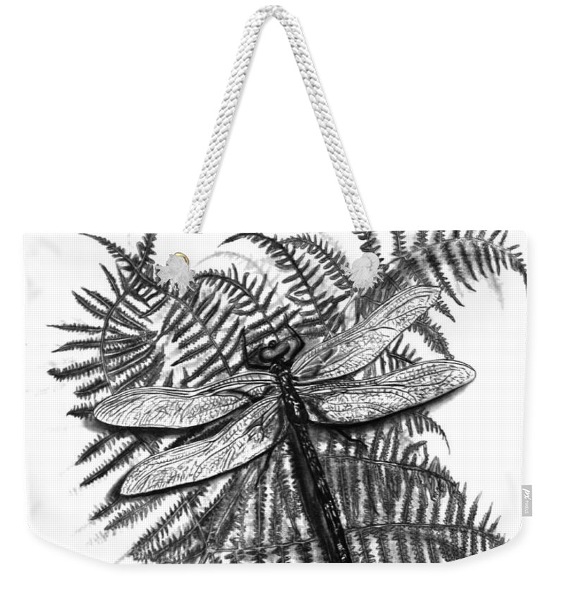 Dragonfly Weekender Tote Bag featuring the drawing Dragonfly by Peter Piatt