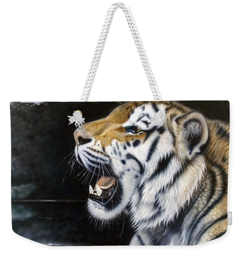 Tiger Weekender Tote Bag featuring the painting Dragonfly by Sandi Baker