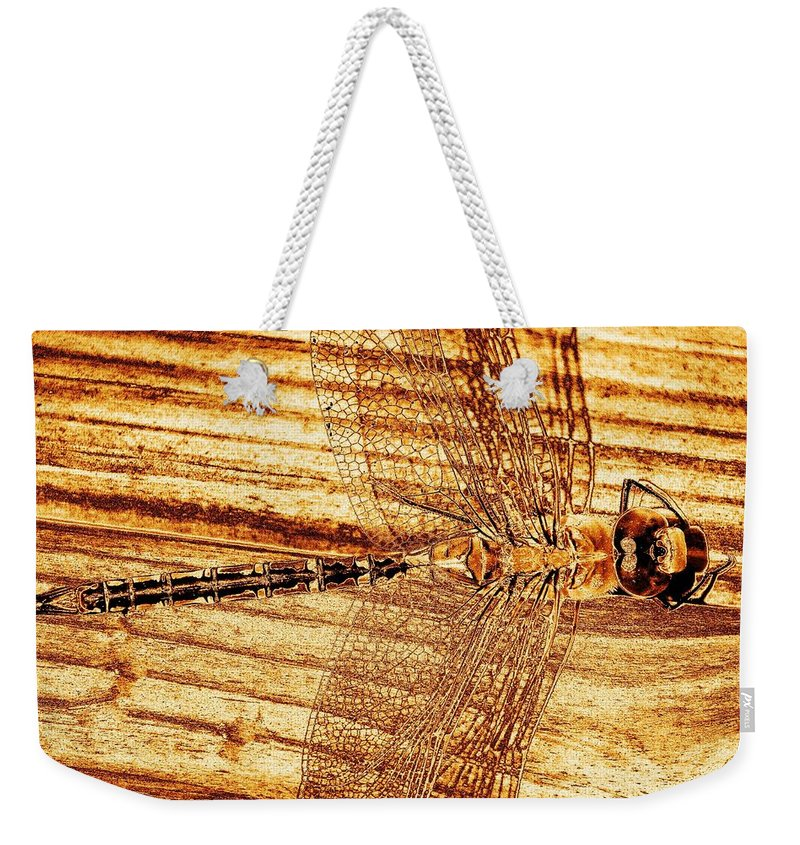Dragon Fly Weekender Tote Bag featuring the photograph Dragonfly Sepia by Kim Bemis