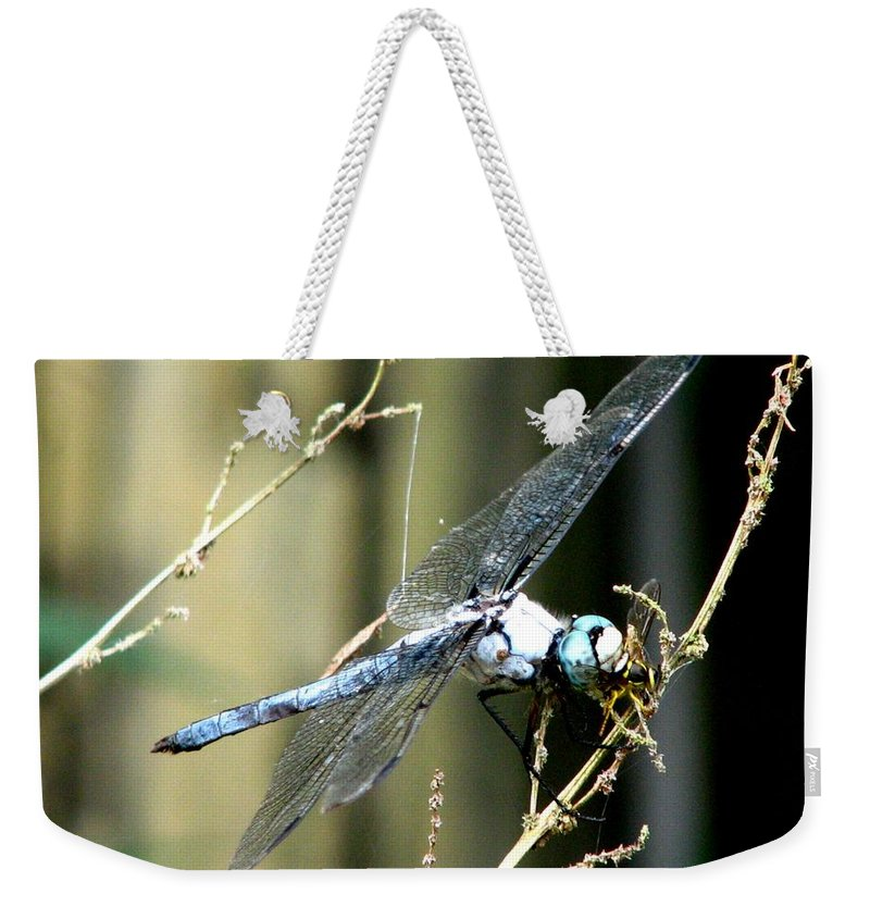 Dragonfly Weekender Tote Bag featuring the photograph Dragonfly With Yellowjacket 1 by J M Farris Photography