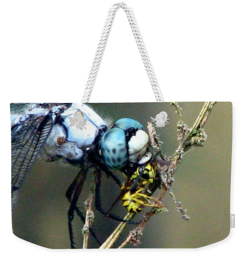 Dragonfly Weekender Tote Bag featuring the photograph Dragonfly With Yellowjacket 5 by J M Farris Photography