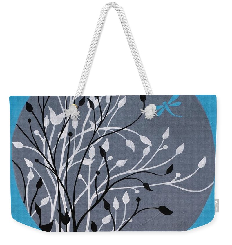 Dragonfly Weekender Tote Bag featuring the painting Dragonfly's Delight by Emily Page