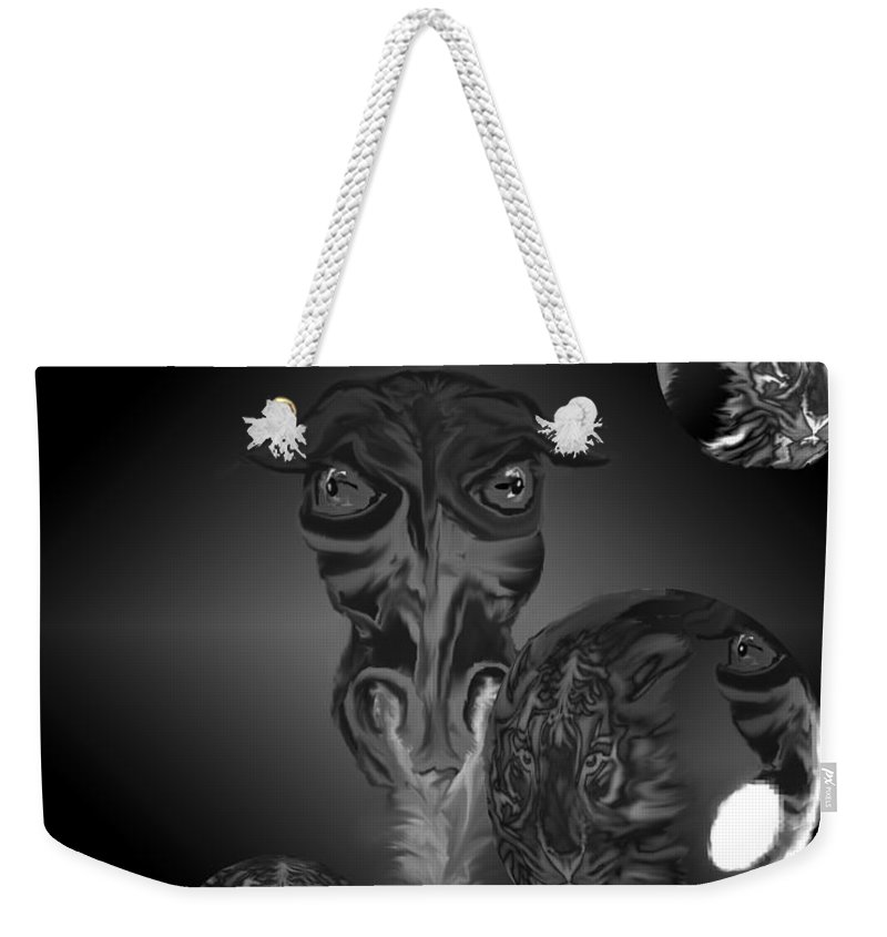 Dragons Tiger Tigers Bubbles Black And White Fantasy Weekender Tote Bag featuring the digital art Dragons And Tigers by Andrea Lawrence
