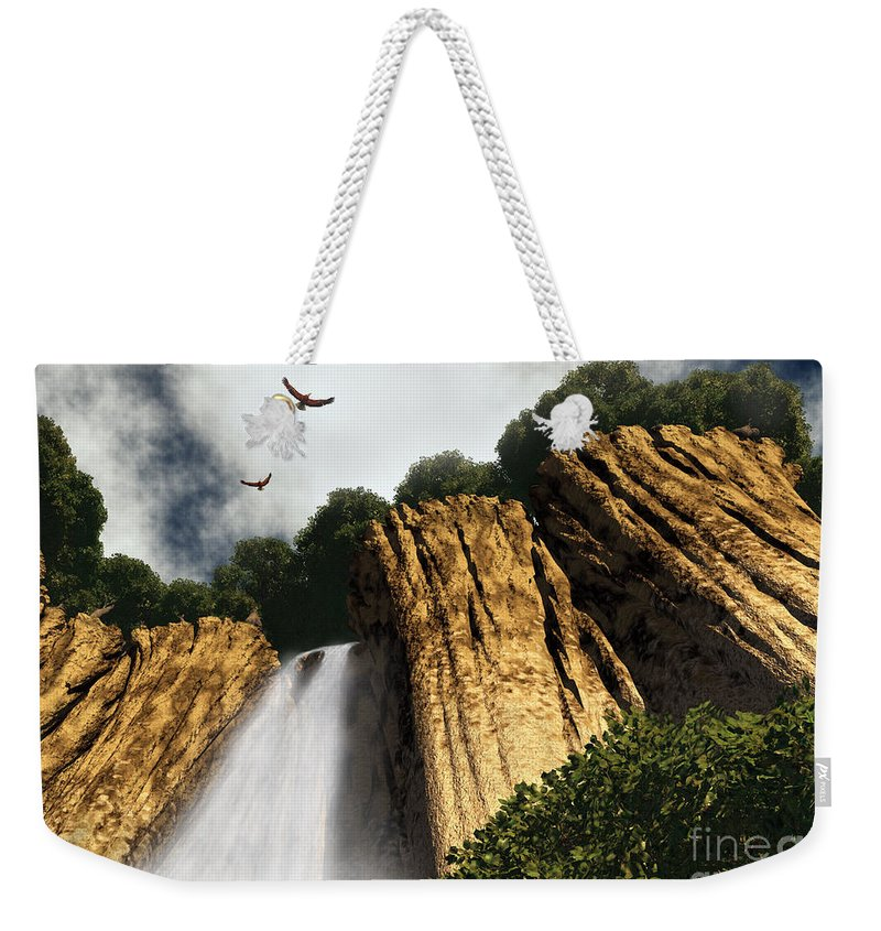 Canyon Weekender Tote Bag featuring the digital art Dragons Den Canyon by Richard Rizzo