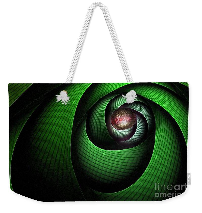 Dragon Weekender Tote Bag featuring the digital art Dragons Eye by John Edwards