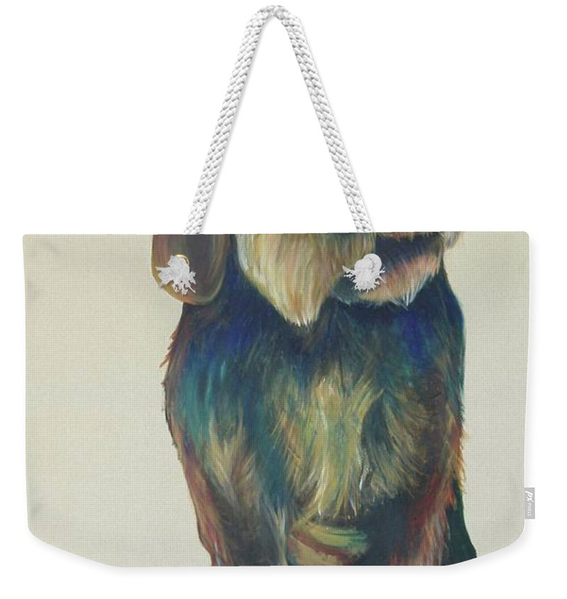 Drahthaar Weekender Tote Bag featuring the painting Drahthaar Amadeus by Catt Kyriacou