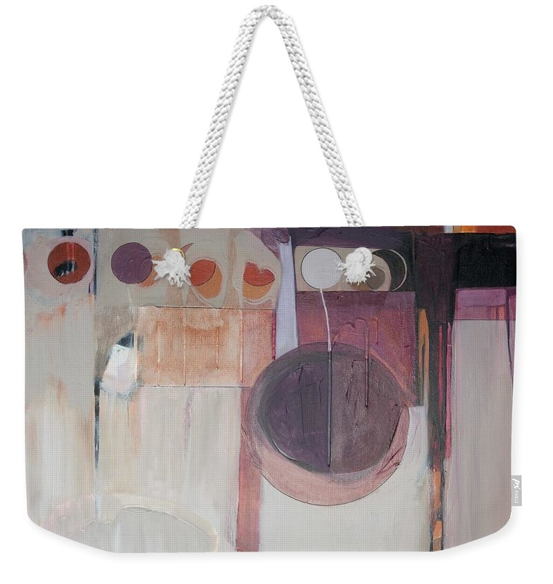 Abstract Weekender Tote Bag featuring the painting Drama by Marlene Burns