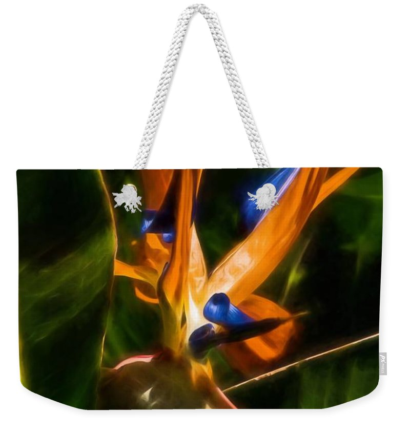 Flower Weekender Tote Bag featuring the photograph Dramatic Entrance by Peggy Hughes