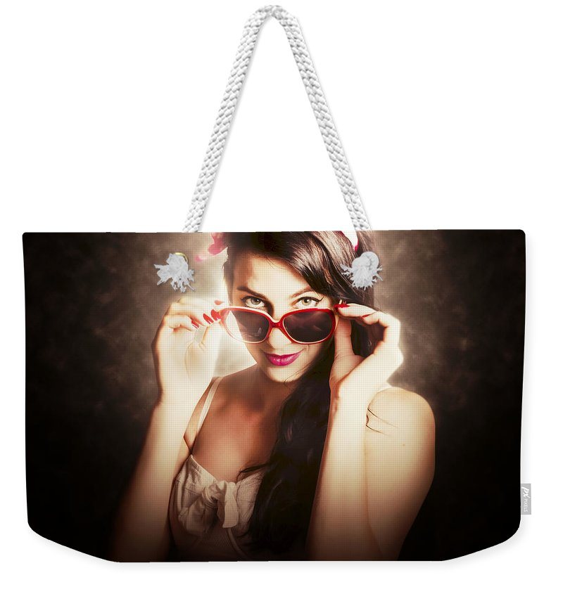 Model Weekender Tote Bag featuring the photograph Dramatic Pin Up Fashion Photograph by Jorgo Photography - Wall Art Gallery