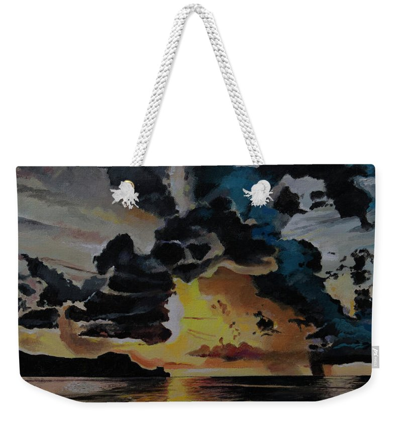 Seascape Weekender Tote Bag featuring the painting Dramatic Sunset Seascape by Bill Dunkley