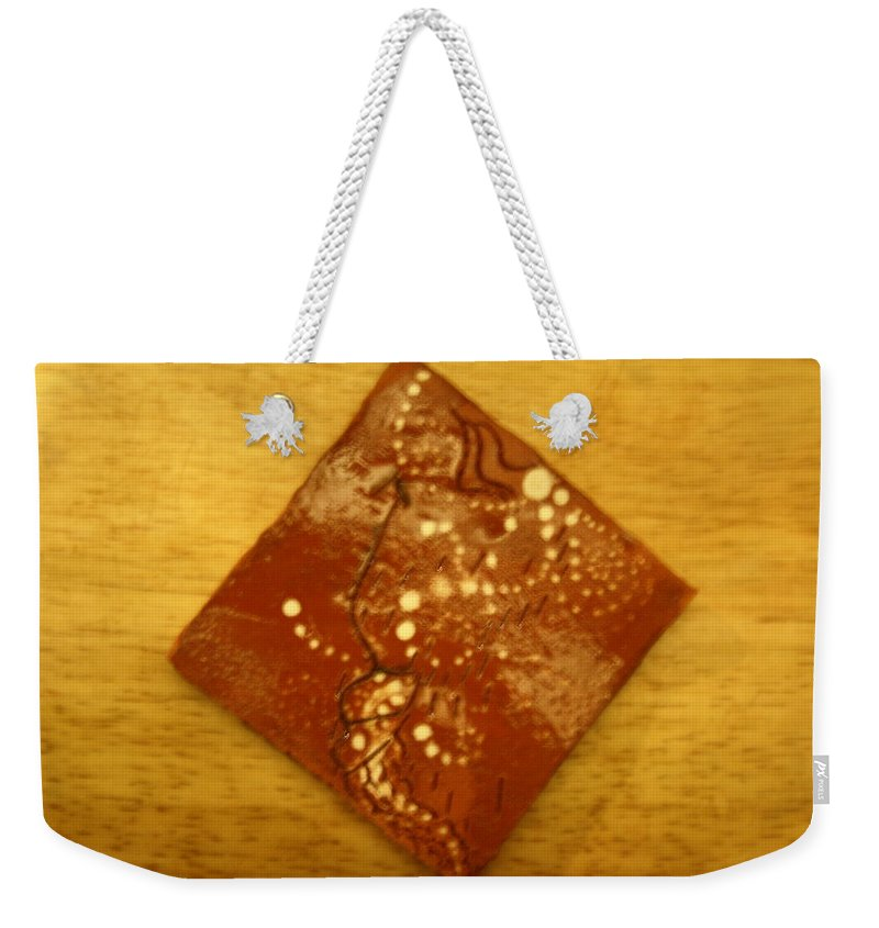 Jesus Weekender Tote Bag featuring the ceramic art Dramatique - Tile by Gloria Ssali