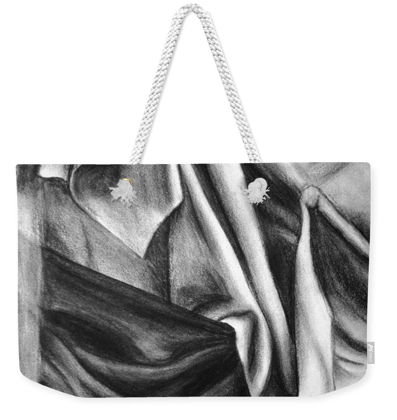 Charcoal Weekender Tote Bag featuring the drawing Drapery Still Life by Nancy Mueller