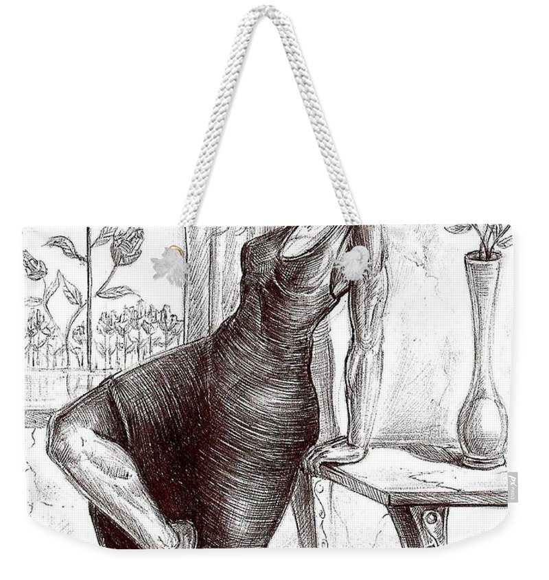 Surrealism Weekender Tote Bag featuring the drawing Drawing 12 by Darwin Leon