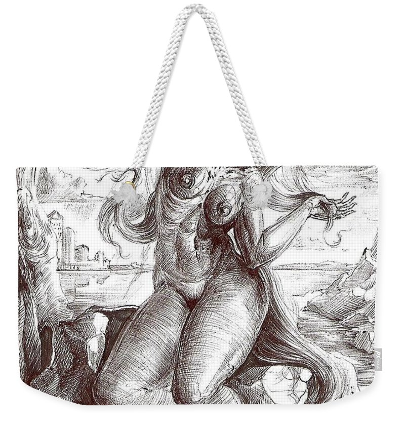 Surrealism Weekender Tote Bag featuring the drawing Drawing 13 by Darwin Leon
