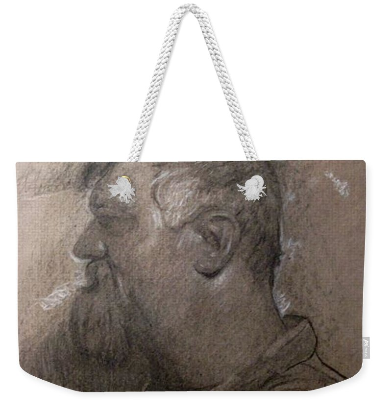 Michaellane Weekender Tote Bag featuring the drawing Drawing Of A Stagehand by Michael Lane