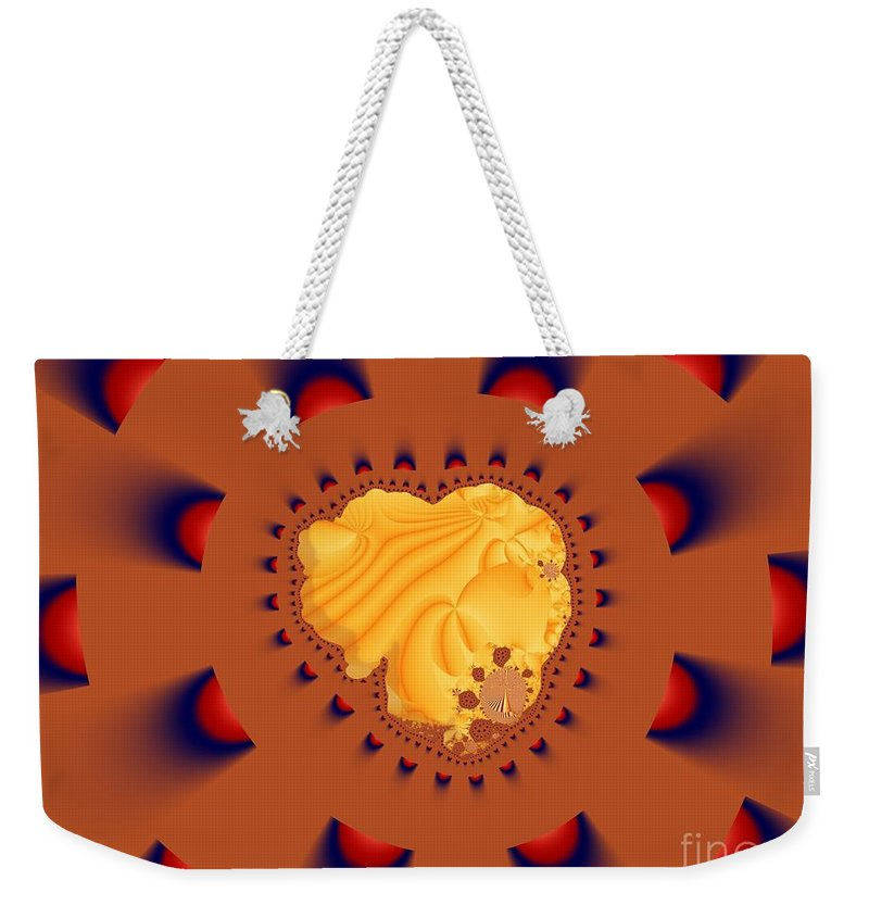 Fractal Art Weekender Tote Bag featuring the digital art Drawn To The Light by Ron Bissett