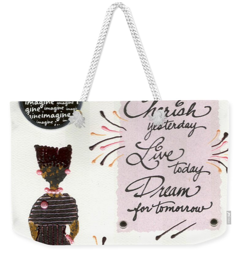 Gretting Cards Weekender Tote Bag featuring the mixed media Dream For Tomorrow by Angela L Walker