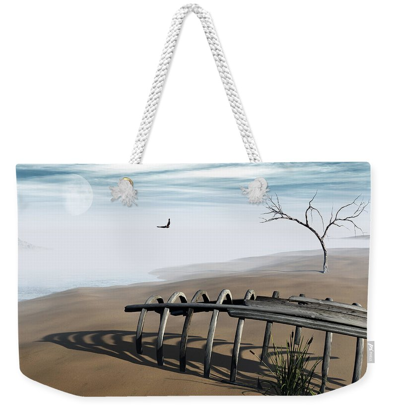 Surreal Weekender Tote Bag featuring the digital art Dream Lake by Richard Rizzo