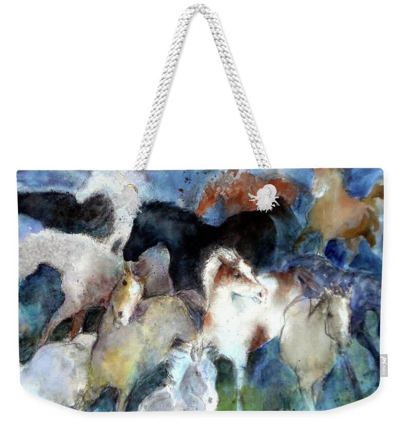 Horses Weekender Tote Bag featuring the painting Dream Of Wild Horses by Christie Martin