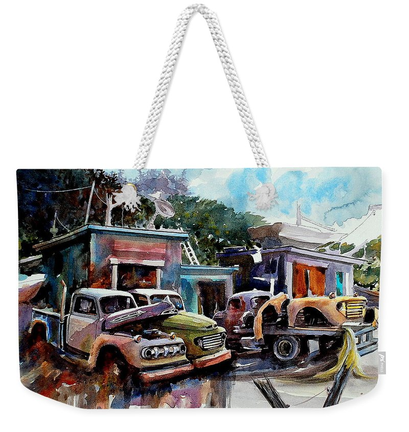 Trucks Buildings Boats Weekender Tote Bag featuring the painting Dreamboat Woodworks by Ron Morrison