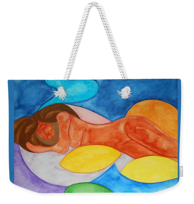 Watercolor Gouache Expressionist Expressionism Painting Paintings Nude Woman Sleep Dreams Surreal Surrealism Primitive Bright Color Multicolored Reclining Figurative Weekender Tote Bag featuring the painting Dreamer by Laura Joan Levine