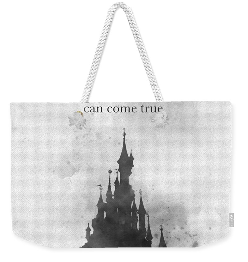 Disneyland Weekender Tote Bag featuring the mixed media Dreaming Black And White by Rebecca Jenkins