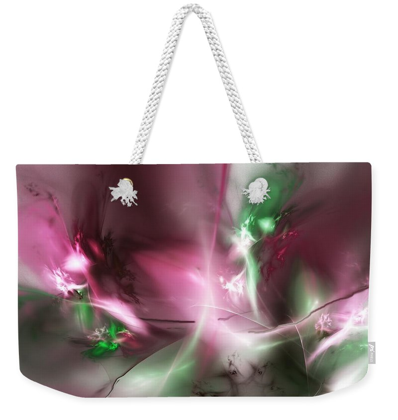 Fractal Weekender Tote Bag featuring the digital art Dreaming in Red and Green by David Lane