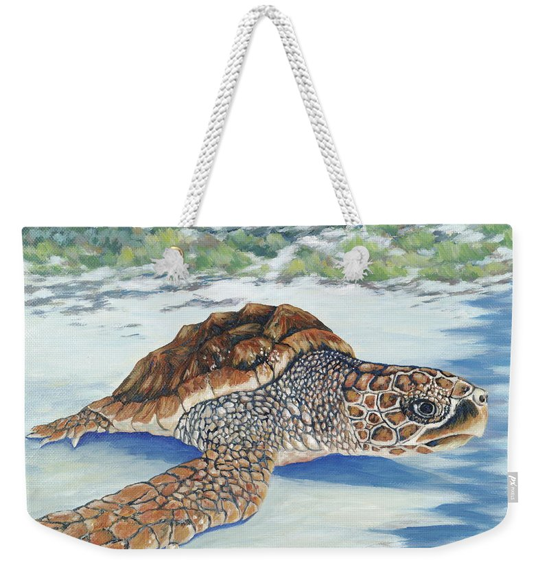 Sea Turtle Weekender Tote Bag featuring the painting Dreaming Of Islands by Danielle Perry