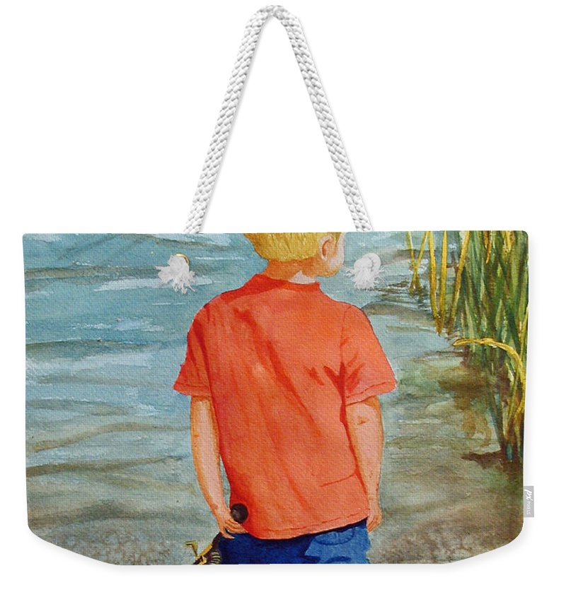 Fishing Weekender Tote Bag featuring the painting Dreaming Of The Big One by Anna Lohse