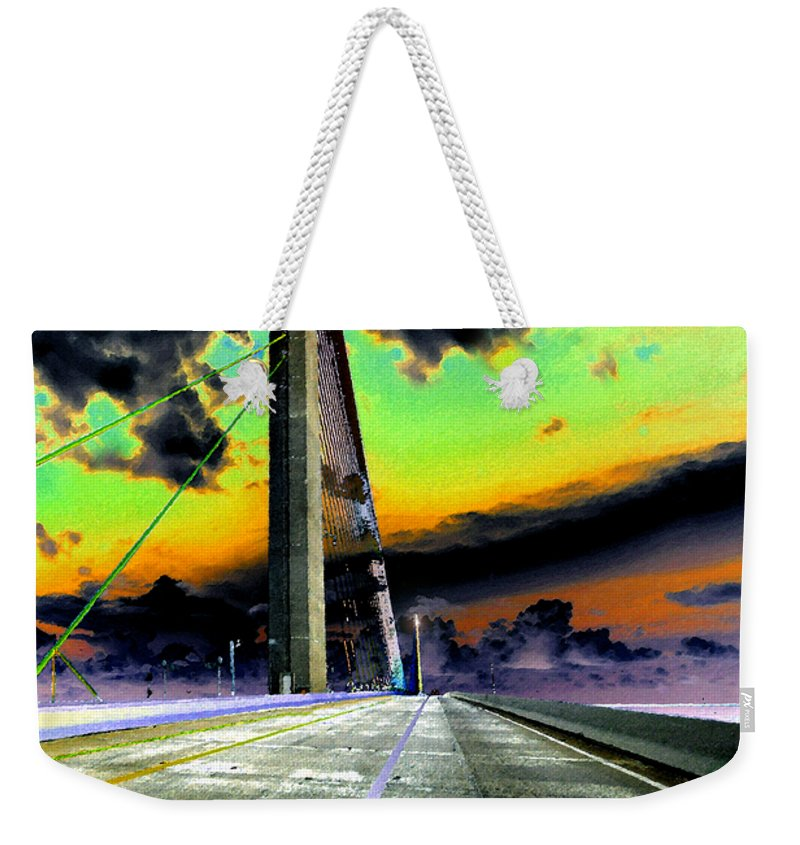 Art Weekender Tote Bag featuring the painting Dreaming Over The Skyway by David Lee Thompson