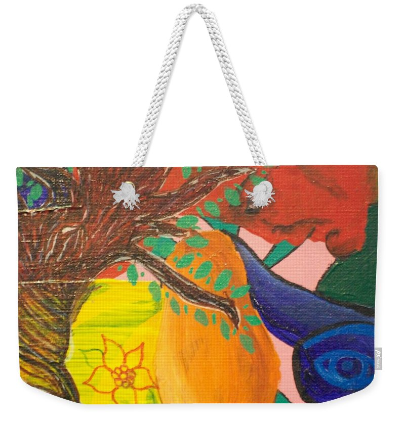 Tree Weekender Tote Bag featuring the painting Dreaming Tree Abstract by Laurette Escobar