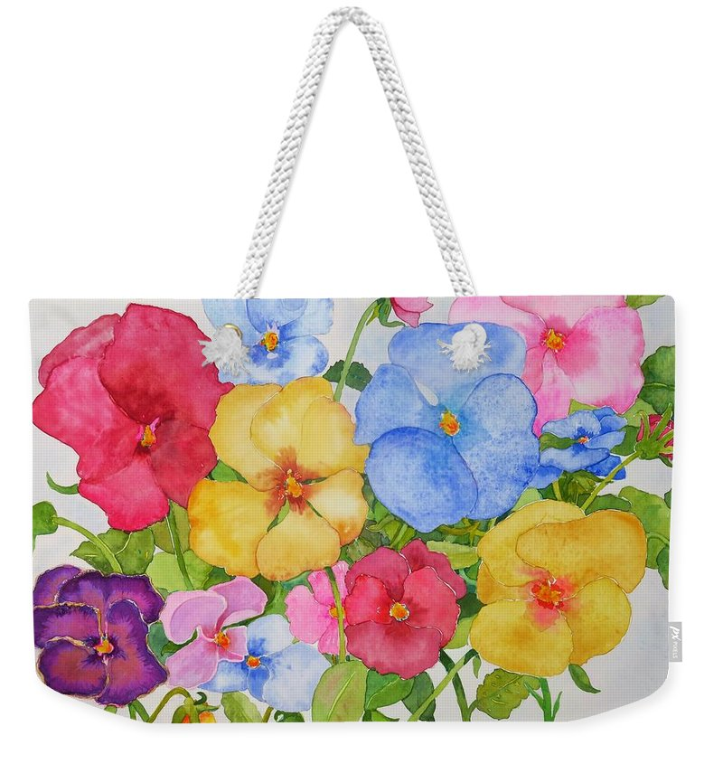 Flowers Weekender Tote Bag featuring the painting Dreams of Spring by Mary Ellen Mueller Legault