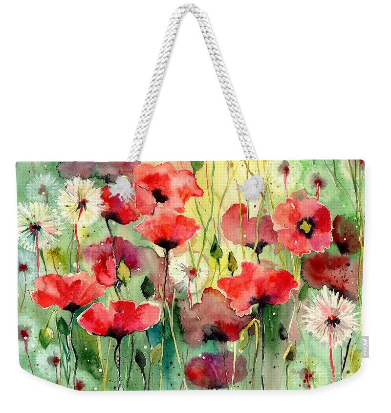 Red Weekender Tote Bag featuring the painting Dreamy Hot Summer Fields by Suzann Sines