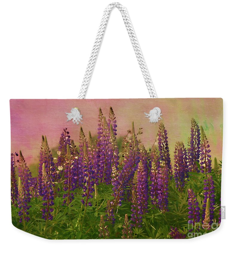 Lupin Weekender Tote Bag featuring the photograph Dreamy Lupin by Deborah Benoit