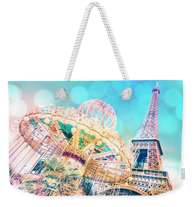 Paris Weekender Tote Bag featuring the photograph Dreamy Pastel Carousel by Delphimages Photo Creations