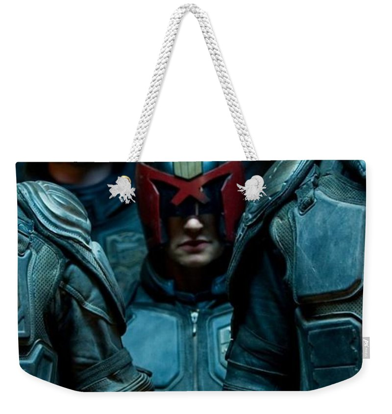 Dredd Karl Urban Donal Gleeson Olivia Thirlby 6 7x34 Weekender Tote Bag featuring the digital art Dredd Karl Urban Donal Gleeson Olivia Thirlby 96764 750x1334 by Mery Moon