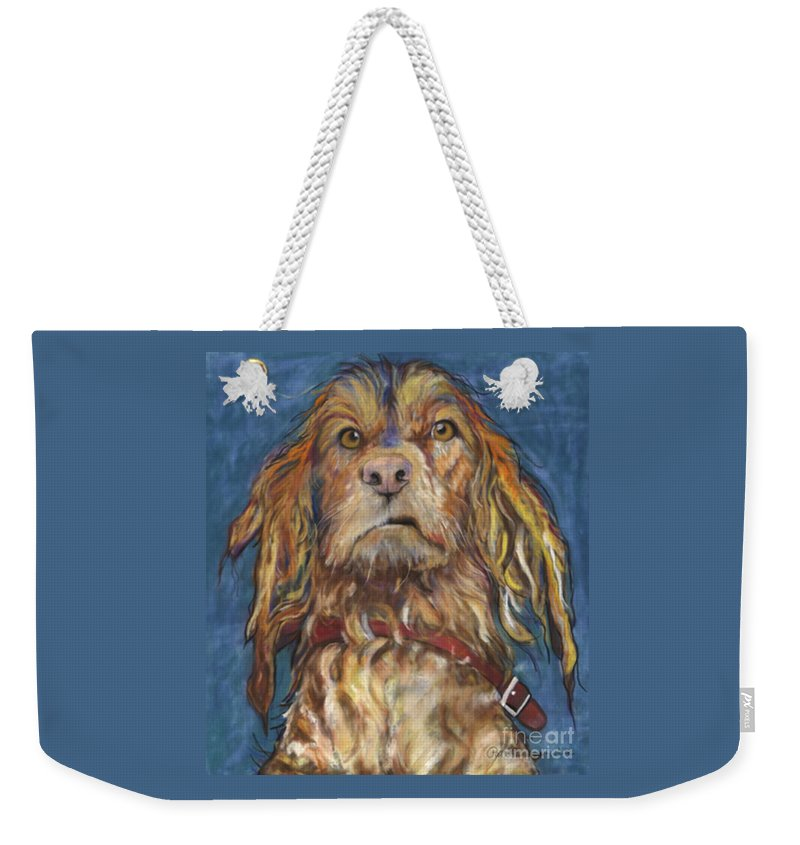 Golden Retriever Painting Weekender Tote Bag featuring the pastel Drenched by Pat Saunders-White