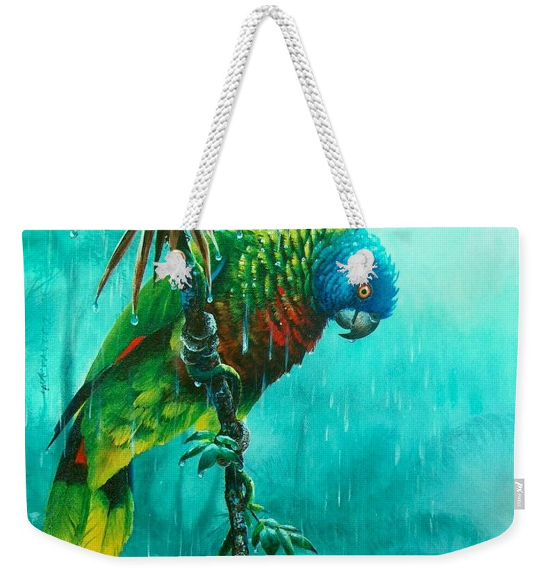 Chris Cox Weekender Tote Bag featuring the painting Drenched - St. Lucia Parrot by Christopher Cox