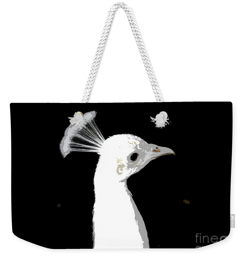 Peacock Weekender Tote Bag featuring the painting Dressed In White by David Lee Thompson