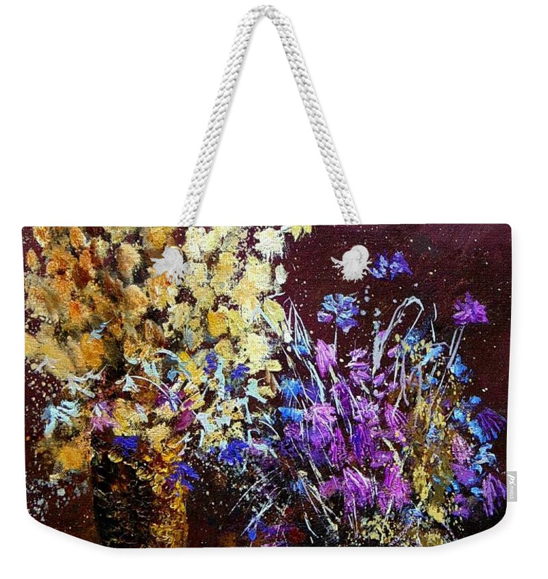 Flowers Weekender Tote Bag featuring the painting Dried Flowers by Pol Ledent