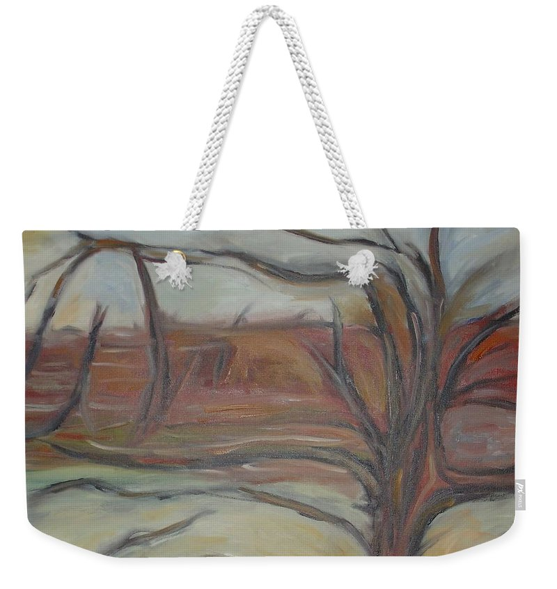 Woods Tree Abstract Original Painting Winter Weekender Tote Bag featuring the painting Drift by Leila Atkinson