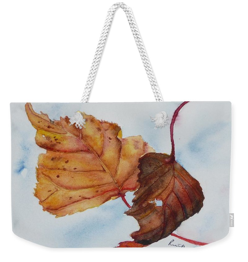 Fall Weekender Tote Bag featuring the painting Drifting by Ruth Kamenev