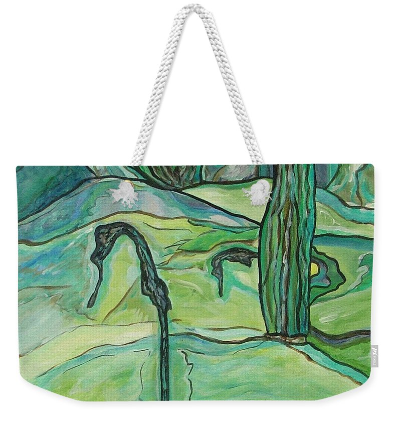 Seahorse Weekender Tote Bag featuring the painting Drifting Seahorse by Heather Lennox