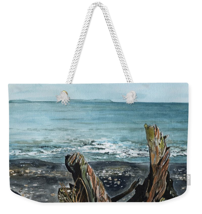Watercolor Weekender Tote Bag featuring the painting Driftwood by Brenda Owen