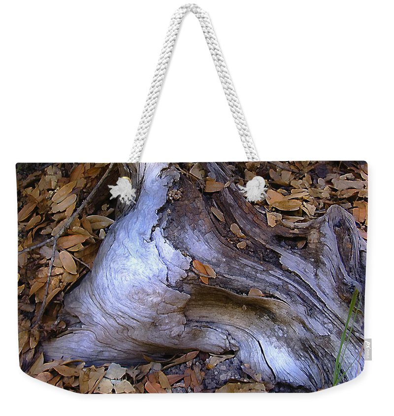 Landscape Weekender Tote Bag featuring the photograph Driftwood In Lahonda by Karen W Meyer