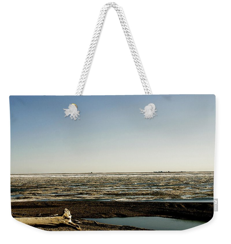 Driftwood Weekender Tote Bag featuring the photograph Driftwood On Arctic Beach by Anthony Jones